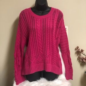 Splendid Pink Knitted Pullover Scoop Neck Sweater